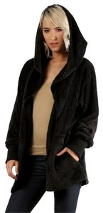 Hem & Thread Fuzzy Cardigan Microsherpa Beige Fuzzy Open Front Cardigan Fur Coat Black Jacket
