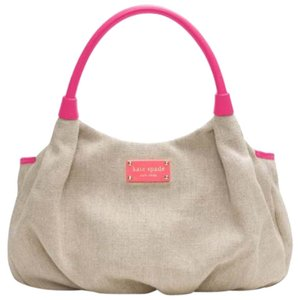 Kate Spade Canvas Leather Satchel in Beige