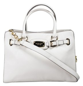 Michael Kors Mk Large Hamilton Pebbled Leather Mk Tote in Vanilla White Cream/Gold Hardware