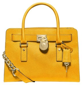 Michael Kors Saffiano Leather Satchel in SUN YELLOW/GOLD Hardware