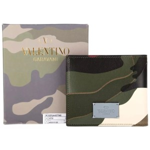 Valentino VALENTINO GARAVANI MEN'S CAMO LEATHER TECHNO BIFOLD Green WALLET