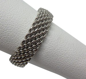 Tiffany & Co. Somerset 18k White Gold Mesh Design 6mm Band ring
