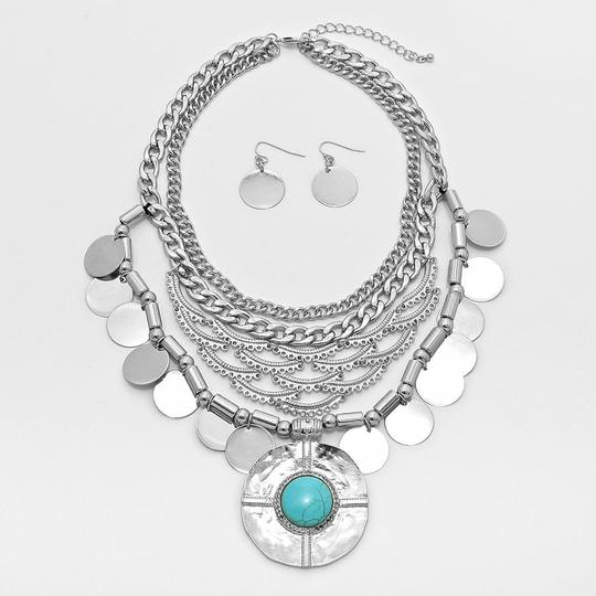 Other Turquoise Accent Multilayer Burnish Silver Chain Necklaceand Earring Set