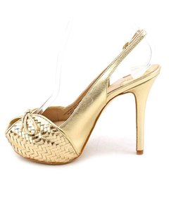 Joan & David Designer Couture & Leather Gold-tone Gold Pumps
