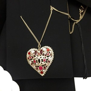 Chanel Chanel Multi Stone Heart Pendant Necklace