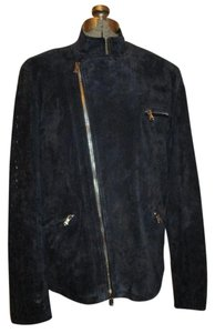 Donald J. Pliner Suede Croc black Leather Jacket