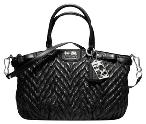 Coach Quilted Chevron Nylon Madison Sophia Satchel in Black