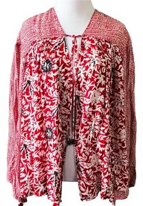 Free People Top Red/White