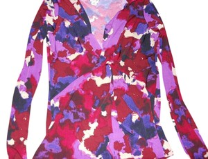 Anne Klein V-neck Work Top Purple Multicolored