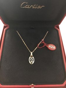 Cartier Cartier Logo Necklace In 18k Pink Gold With Diamonds