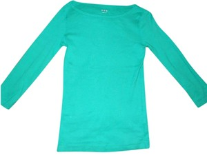 Three Dots Green Three Quarter Sleeve Soft T Shirt Kelly Green