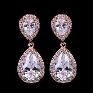 Bridesmaid Rose Gold Plated Tear Drop Earrings Pierced
