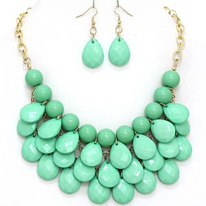 Mint Green Teardrop Statement Bib Necklace Set and Jewelry Bag