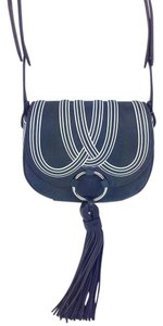 Tory Burch Leather Blue Tb Nubuck Tb Cross Body Bag