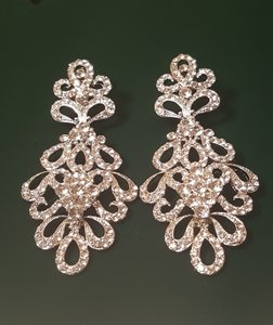 Bridal Rhinestone Silver Plated Drop Earrings 3