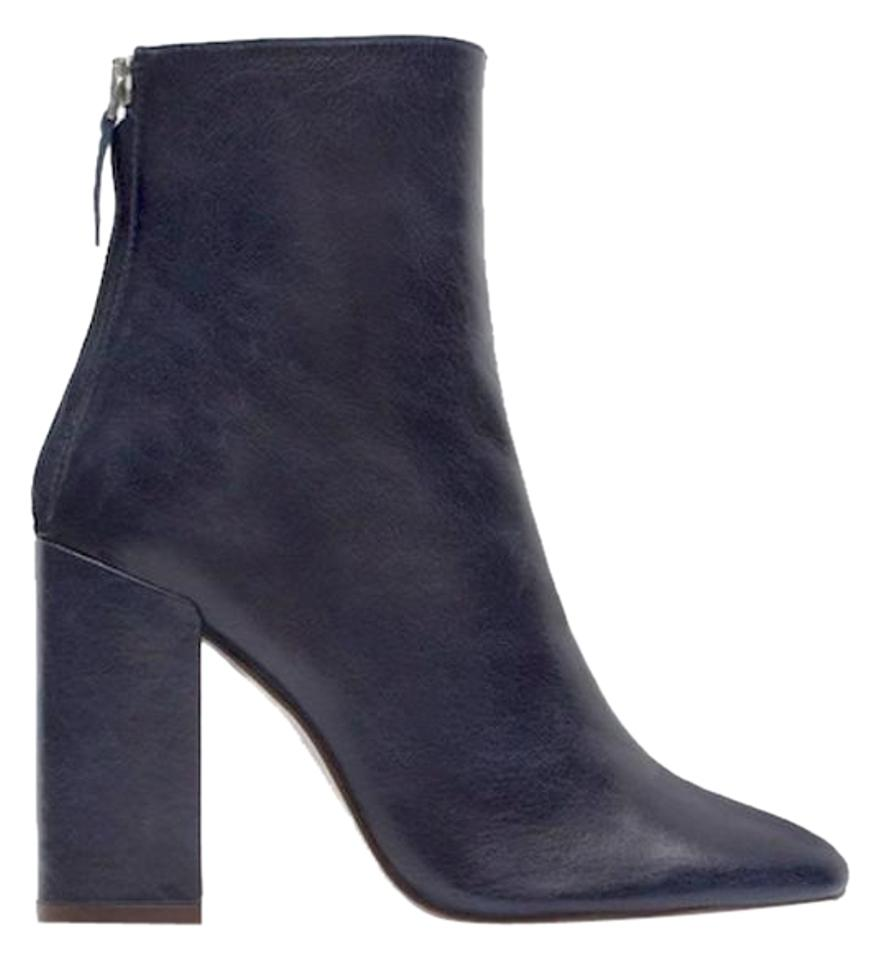 Zara New!! Tags Real Leather Block Navy Heels Ankle Navy ...