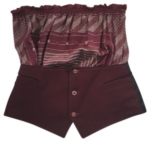 Metropark Maroon and grey Halter Top
