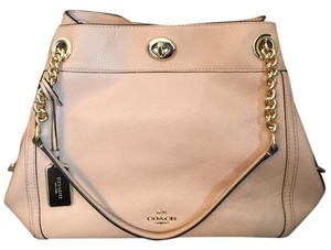 Coach Pebble Leather Zip Closure Shoulder Bag