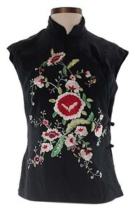 Sue Wong Embroidered Floral Sleeveless Top Black