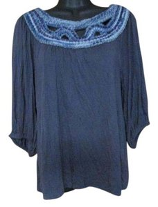 Anthropologie Knit Casual Spring Summer Boho Top Blue