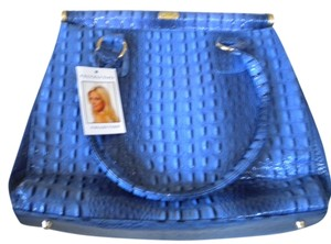 Vecceli Italy New Crocodile Gold Satchel in Royal Blue