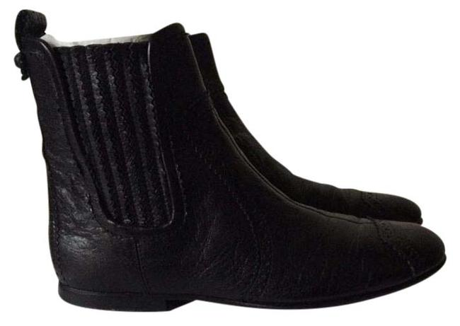 Item - Black Chelsea Brogues Ankle with Perforated Leather Details Boots/Booties Size US 6.5 Regular (M, B)