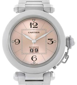 Cartier Cartier Pasha Big Date Pink Dial Medium Steel Ladies Watch W31058M7