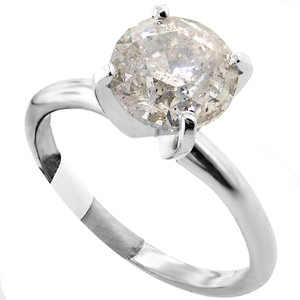 ABC Jewelry 14kt White Gold Solitaire Size 7 Set With One Genuine Brilliant Cut Diamond Weighing 2.50ct