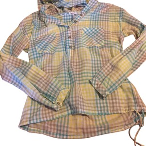 Splendid Button Down Shirt Yellow/white/blue/tan plaid