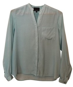 Cynthia Rowley Office Blouse Work Blouse Spring Summer Button Down Shirt Light Blue/White