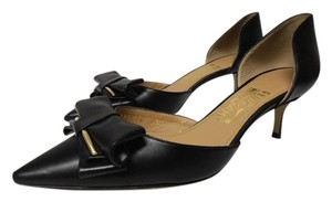Salvatore Ferragamo Leather Big Bow Cut Out black Pumps