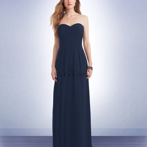 Bill Levkoff Navy Polyester Style 1121 Formal Bridesmaid/Mob Dress Size 2 (XS)