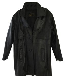 Blk soft leather trench 3/4 jacket Leather Jacket