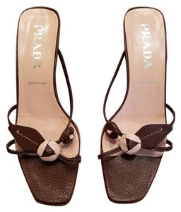 Prada Size 8m Size 38 Brown Sandals