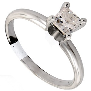 ABC Jewelry 14kt White Gold Solitaire Size 6.75 Set With One Genuine Princess Cut Diamond Weighing .71