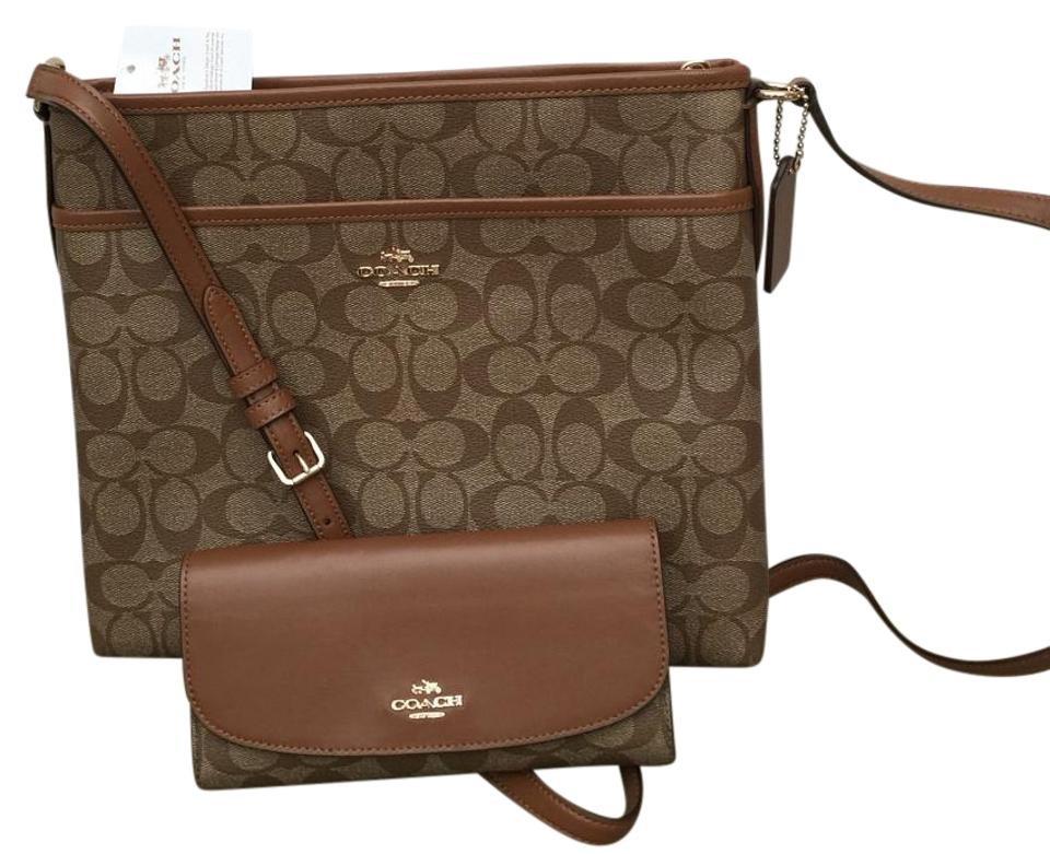 68112be1 Coach File Signature & Matching Checkbook Brown Coated Canvas Cross Body  Bag 51% off retail