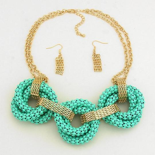 Other Mint Green Gold Statement Bib Necklace and Earring Set
