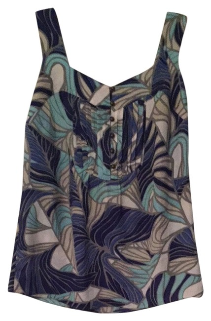 Preload https://item2.tradesy.com/images/banana-republic-blue-white-turquoise-grey-tank-topcami-size-2-xs-2027941-0-0.jpg?width=400&height=650