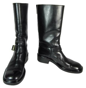 Gucci Black Leather Logo Midcalf Moto Boots