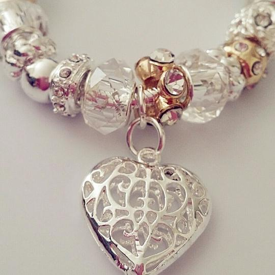 Charm Bead Clear Transparent European Heart Gold White New Gift Star Heart Bridesmaid Bracelet