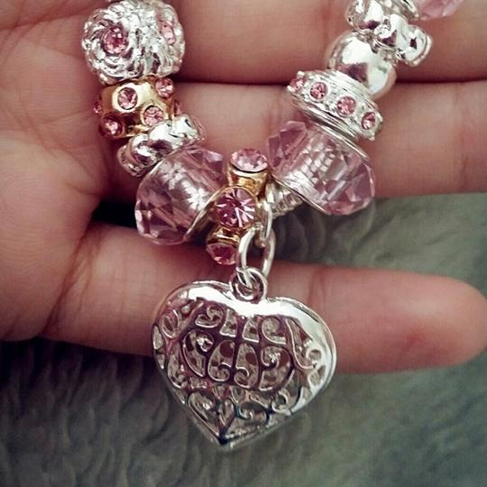 unknown nwot baby pink blush glass bead charm heart bracelet cuff link chain silver wedding bridal bridesmaid jewelry european Image 1