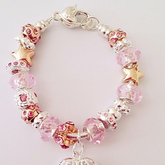 unknown nwot baby pink blush glass bead charm heart bracelet cuff link chain silver wedding bridal bridesmaid jewelry european Image 3