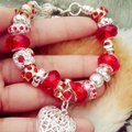 Nwot Mother Daughter Crystal Glass Bead Charm European Silver Red Gift Bridesmaid Gift Cuff Chain Link Bracelet Image 0
