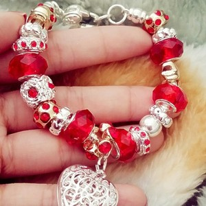 Nwot Mother Daughter Crystal Glass Bead Charm European Silver Red Gift Bridesmaid Gift Cuff Chain Link Bracelet