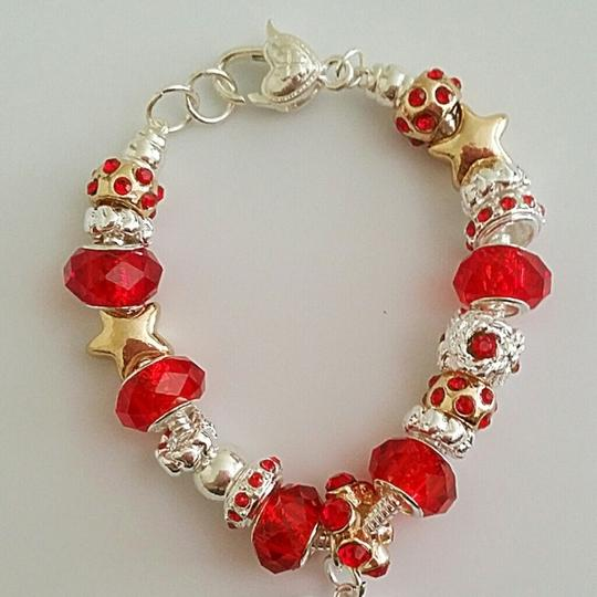 Nwot Mother Daughter Crystal Glass Bead Charm European Silver Red Gift Bridesmaid Gift Cuff Chain Link Silver Hollow Bracelets