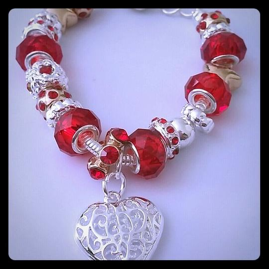 Nwot Mother Daughter Crystal Glass Bead Charm European Silver Red Gift Bridesmaid Gift Cuff Chain Link Bracelet Image 2