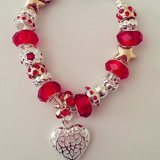 Nwot Mother Daughter Crystal Glass Bead Charm European Silver Red Gift Bridesmaid Gift Cuff Chain Link Bracelet Image 3