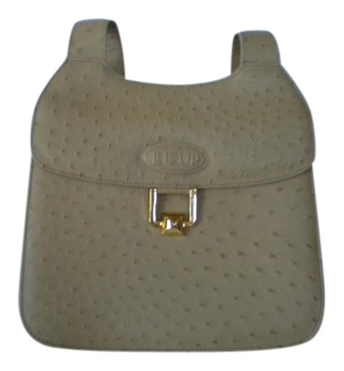 Lelup Paris Ostrich Leather /Cream Color Classic New Shoulder Bag