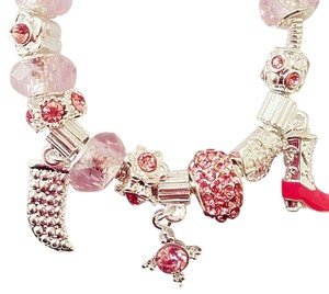 Pink red heart glass bead charm bracelet 925 silver plated cz diamond crystal swarovski element wedding baby
