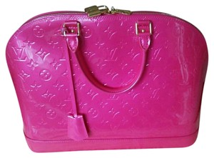 Louis Vuitton Alma Gm Vernis Leather Rare Limited Edition Satchel in Rose Pop pink